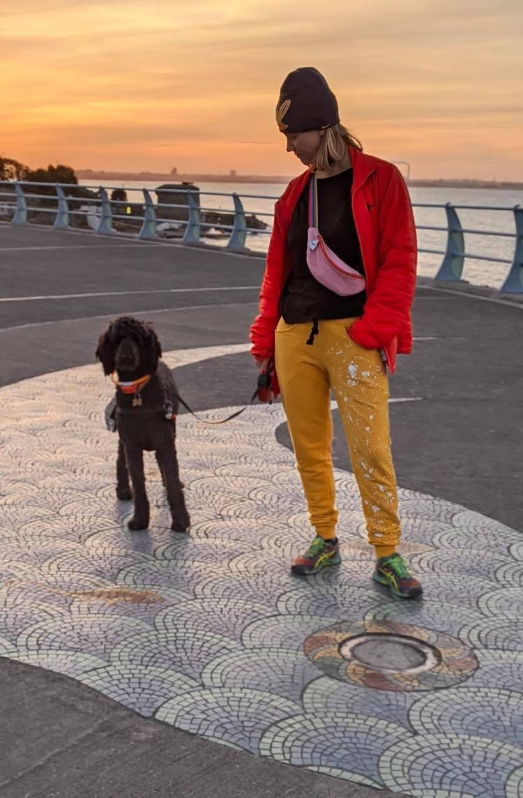 Spodnie dresowy żółte i pies i nerka
